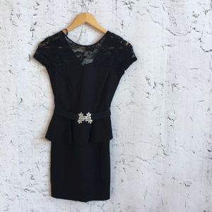 NWT CITY STUDIO BLACK  PEPLUM DRESS 1